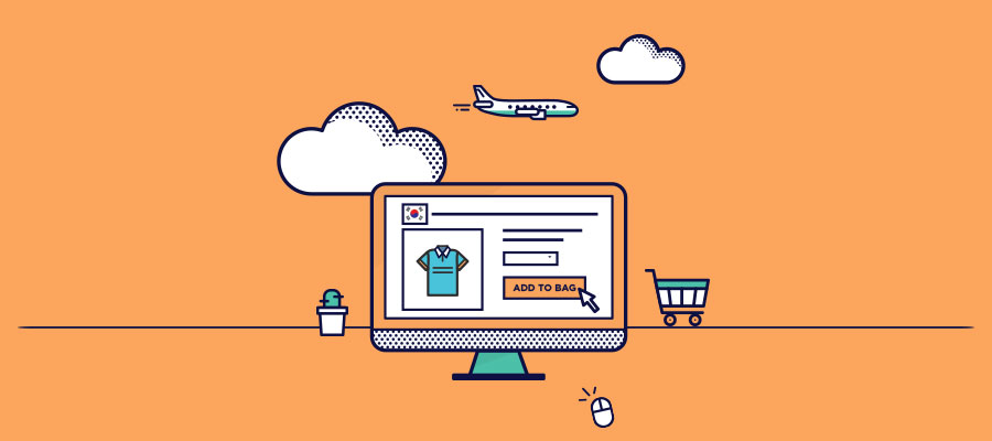 a monitor screen with purchasing clothes in Korean website and an airplane, cart, mouse, and cactus